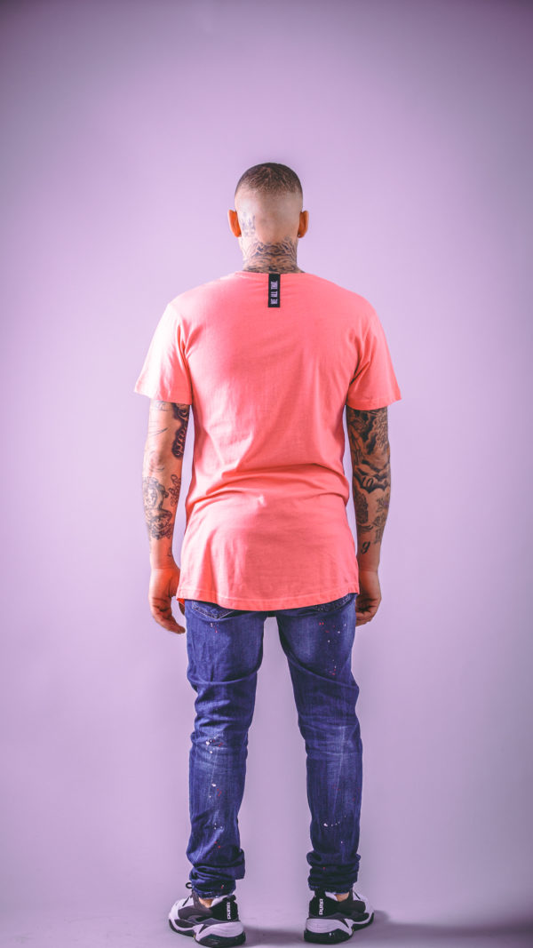 we all that shaped long tee coral men